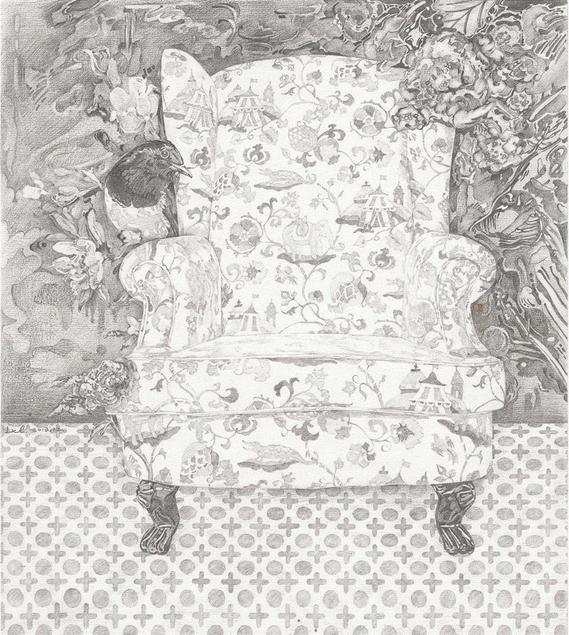 ▲空椅子 纸本 30×35cm 2014年,李蕾:语言是危险的,所以画画吧,李蕾,绘画,纸本,日记体,作业,之外,言语,油画,爱意,底部