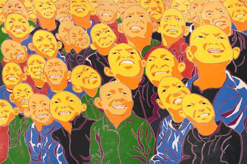 《2016》,方力钧,木刻版画,244cm×366cm,2016年,【GCA展览预告】《目及五维度》,GCA,目及五维度,方力钧,方少华,薛松,重庆,星汇,当代美术馆,魏光庆,艺术史