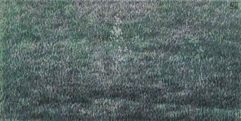 """?【展览预告】""""墨彩心意""""看江南好山好水,心意,墨彩,江南好山,丁观加,刘海粟美术馆,书画,水墨,湿地,江南,两棵树"""