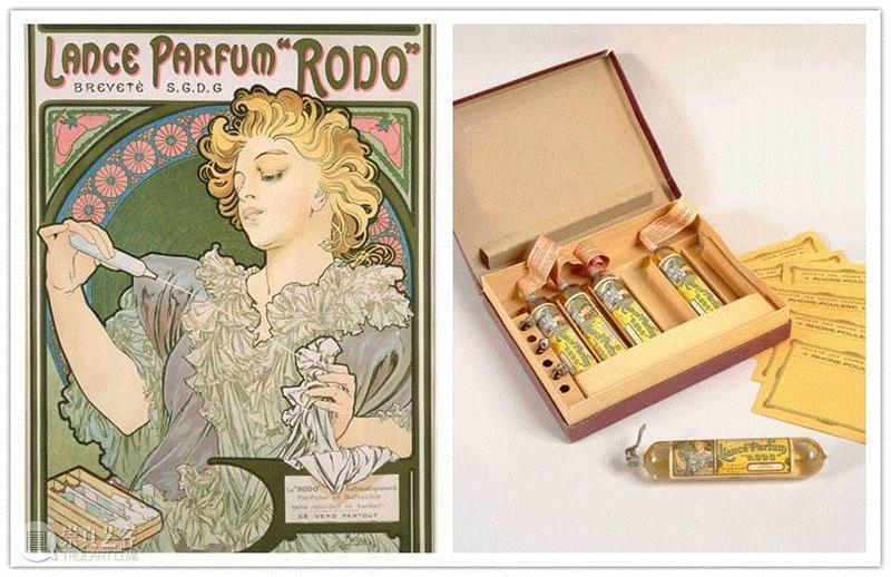 """左:""""罗多""""香水海报,1896年 彩色石版画,44.5 x 32厘米,PAM最全观展指南!《慕夏Mucha》大展不可不知的一切~,PAM,观展指南,慕夏Mucha,慕夏,明珠美术馆,斯拉夫,Mucha,Trust,捷克,巴黎"""