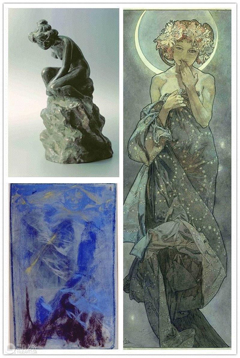 左下:幻象(蓝色习作),约1900年 粉彩纸本,61 x 47厘米,PAM最全观展指南!《慕夏Mucha》大展不可不知的一切~,PAM,观展指南,慕夏Mucha,慕夏,明珠美术馆,斯拉夫,Mucha,Trust,捷克,巴黎