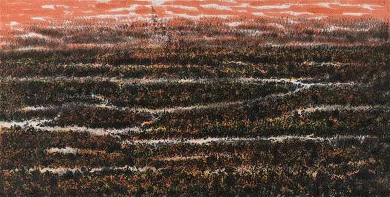 """""""墨彩心意""""看江南好山好水,心意,墨彩,江南好山,丁观加,书画,水墨,湿地,江南,刘海粟美术馆,两棵树"""