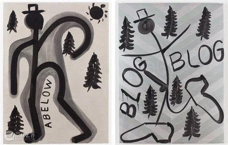 Untitled, 2013 (Left) / Blog Blog, 2013 (Right),同行/做一个勇于自黑的艺术家   Joshua Abelow,同行,博客,视频,绘画,诗歌,James,Fuentes,人物,徐震,Joshua