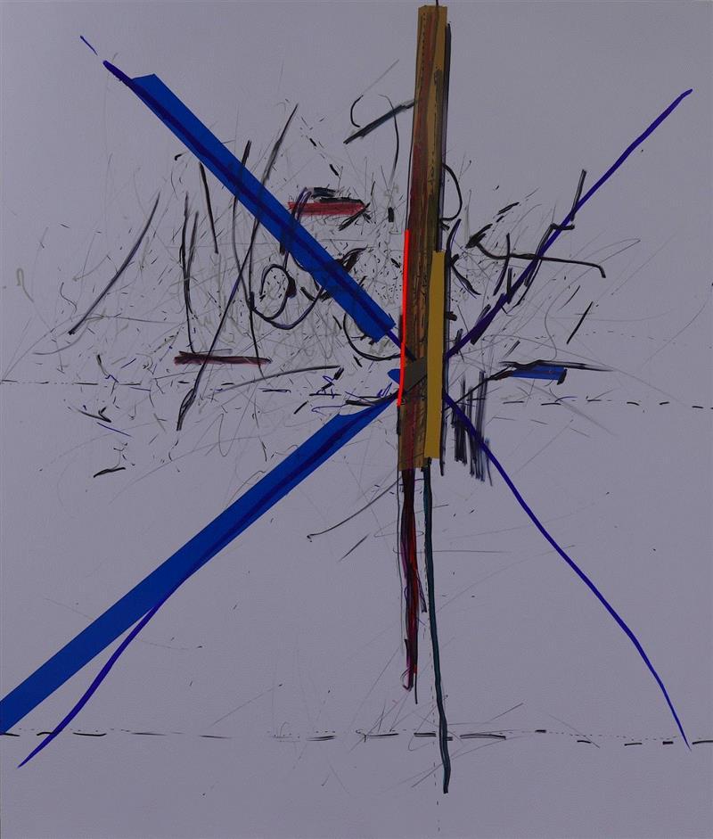 Ж,tape and marker on plastic 塑料上胶带和马克笔,160 x 125cm