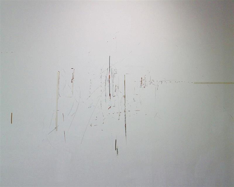 "REFRAIN,markerand tape on wall 墙上胶带和马克笔,2019,薇罗妮卡·威戈(Veronika Wenger)| ""风格派及未来""参展艺术家,风格派,Wenger,薇罗妮卡·威戈,马克笔,丝线,荷兰,华侨城,美术馆,Boxes,胶带"