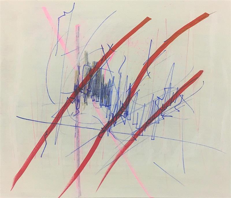 Kratzer,60 x 70 cm, marker, spray, acrylic o