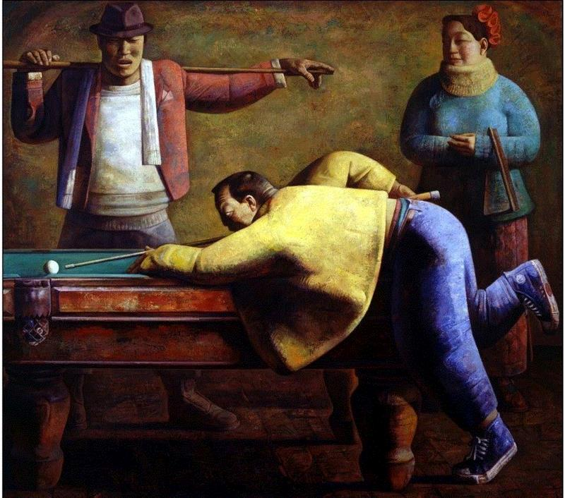 打台球 Play Billiards,布面油画 oil on canvas,170x190cm,19