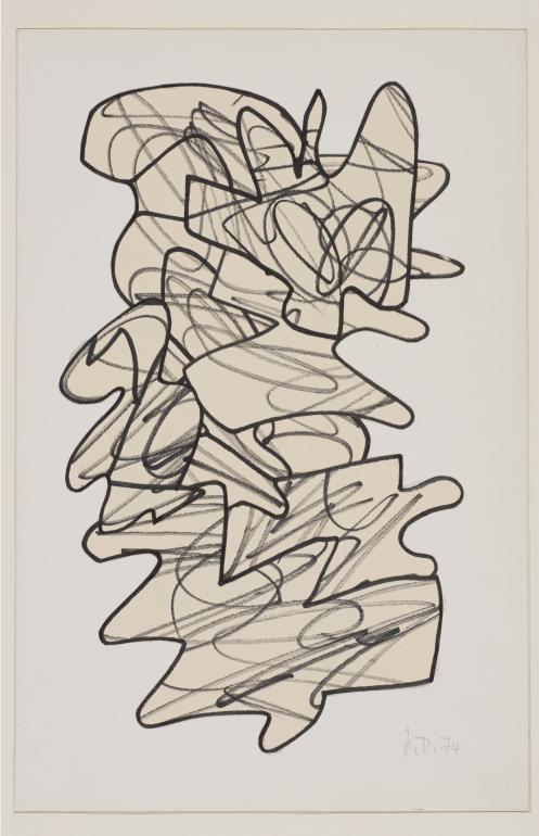 让·杜布菲,《战士》,黄色裁剪纸本马克笔画,37.7 x 27.6 cm,1958.png