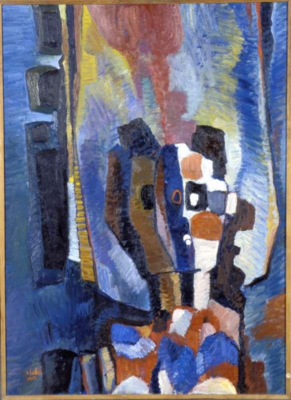 巴依尔 伊萨克,《镜子里的头像倒影》,布面油画 ,100.5 x 73.5 cm,1973.jpg