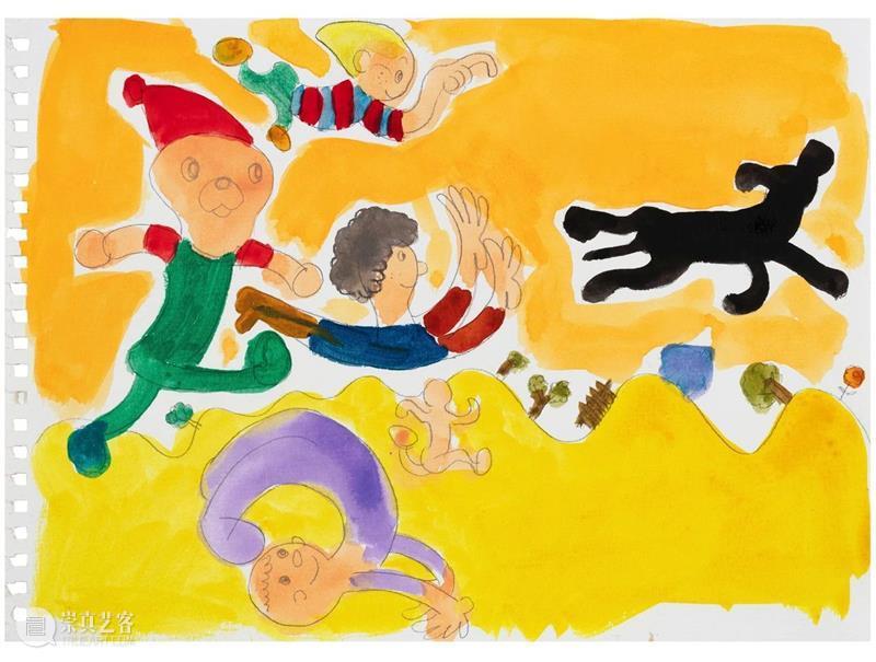 今天展出宋拓的第四件作品。 宋拓 作品 跑侬 Running Kids 水彩 纸上 水彩画 系列 大学 崇真艺客