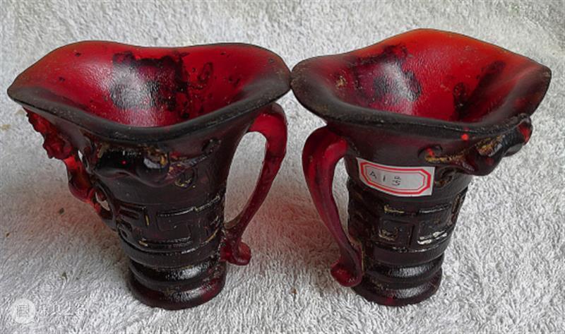 原创丨康熙、雍正年制血琥珀杯两对 康熙 雍正 琥珀杯 琥珀杯一对 底径 血琥珀 色彩 使用者 感觉 效果 崇真艺客