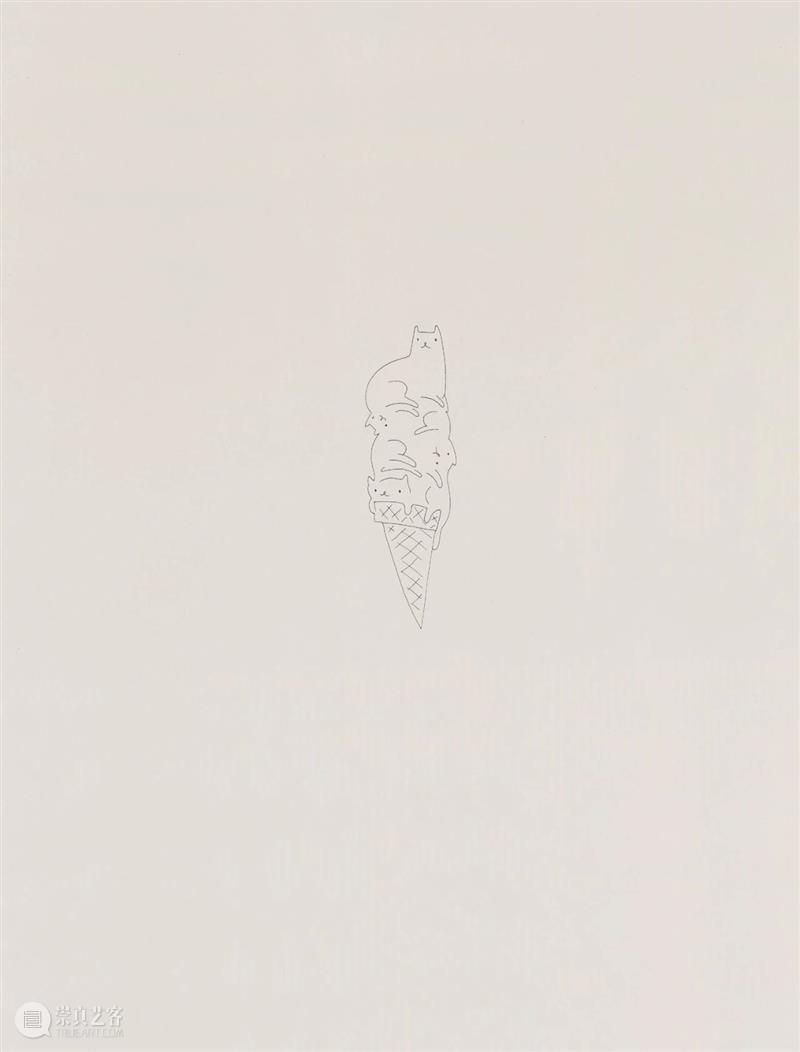 今天展出宋拓的第六件作品。 作品 宋拓 Icecream2019啫喱笔 纸上 艺术家 北京公社 公众 平台 观众 邮件 崇真艺客