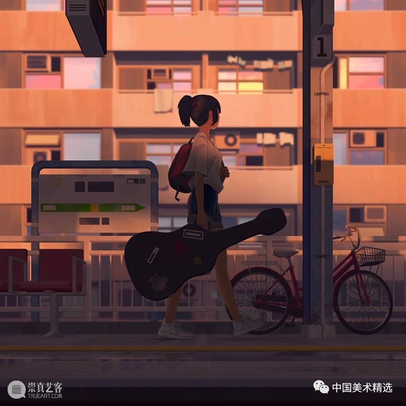 车站上的音乐少女  中国美术精选 少女 车站 音乐 插画 瞬间 张扬 一个故事 作品 往期 肖像 崇真艺客
