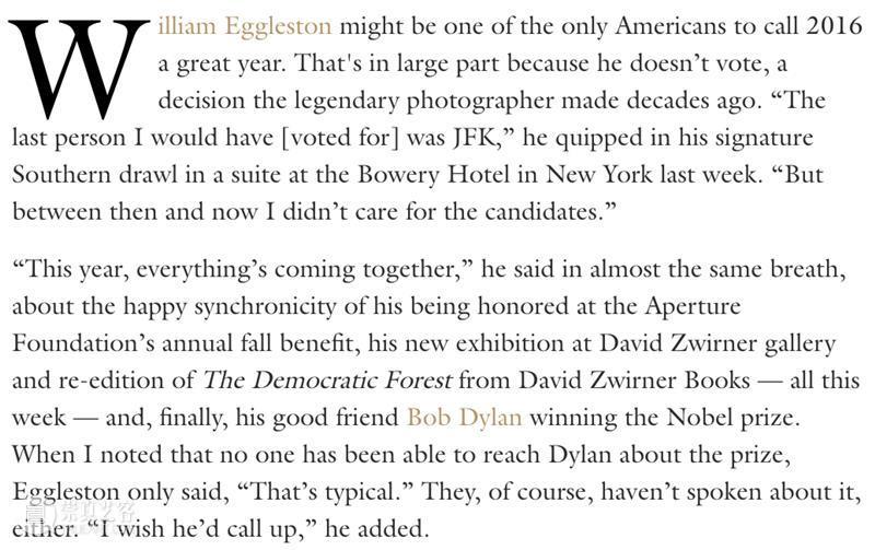 《W》杂志专访   与威廉·埃格尔斯顿共度的下午(William Eggleston) 崇真艺客