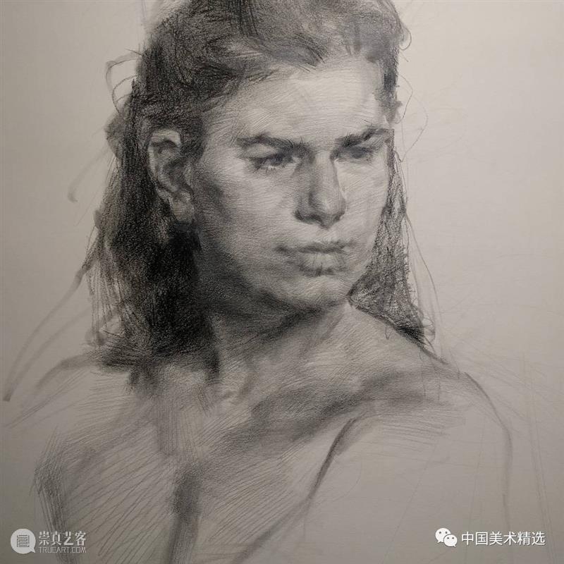 松动的素描肖像 肖像 素描 美国 画家 Dan Thompson 作品 弗吉尼亚州 亚历山大 纽约市两所艺术学院 崇真艺客