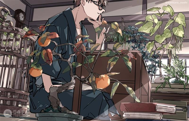 花儿与少年  中国美术精选 花儿与少年 カンカラナシ 男孩 日本 插画师 画面 少年 色彩 笔触 青春 崇真艺客