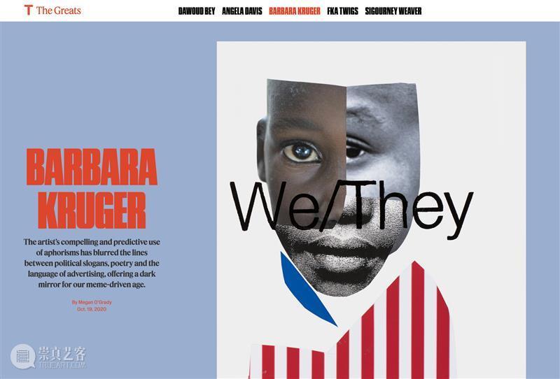 纽约时报《T》杂志年度人物 | 芭芭拉·克鲁格(Barbara Kruger)(上)  卓纳画廊 崇真艺客