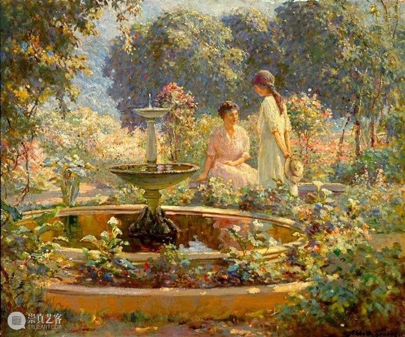 阳光正好,是喜欢的花园! 花园 阳光 美国 艺术家 花卉 静物 题材 欧洲 印象派 笔触 崇真艺客