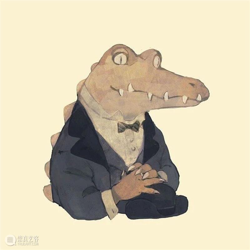 温柔的鳄鱼大叔  纯灰艺术 鳄鱼 大叔 温柔 少女 主题 插画 画面 张扬 感觉 作品 崇真艺客