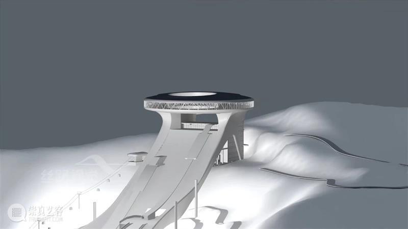 """全球首次点亮,130米高的国家跳台滑雪中心,以""""如意""""为形,化""""如意""""之势 跳台 国家 中心 全球 跳台滑雪 飞雪 滑翔机 运动员 滑雪板 积雪 崇真艺客"""
