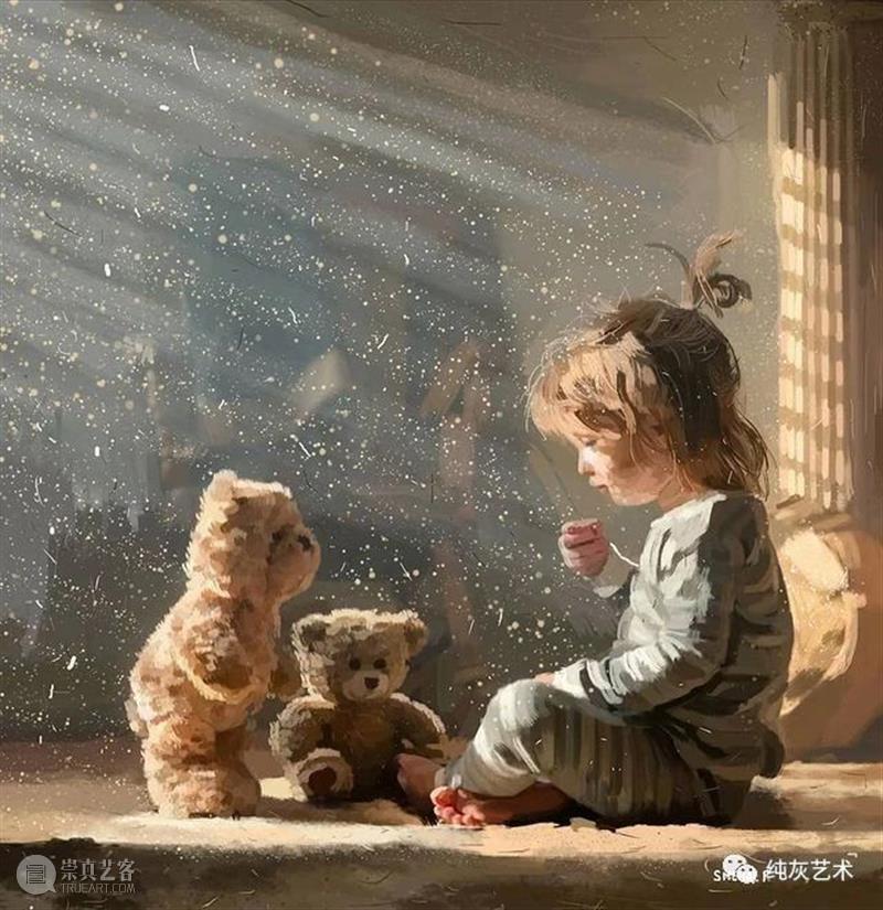 美好的孩童时光  纯灰艺术 孩童 时光 印度 艺术家 笔下 颜色 画面 人物 光影 视觉 崇真艺客