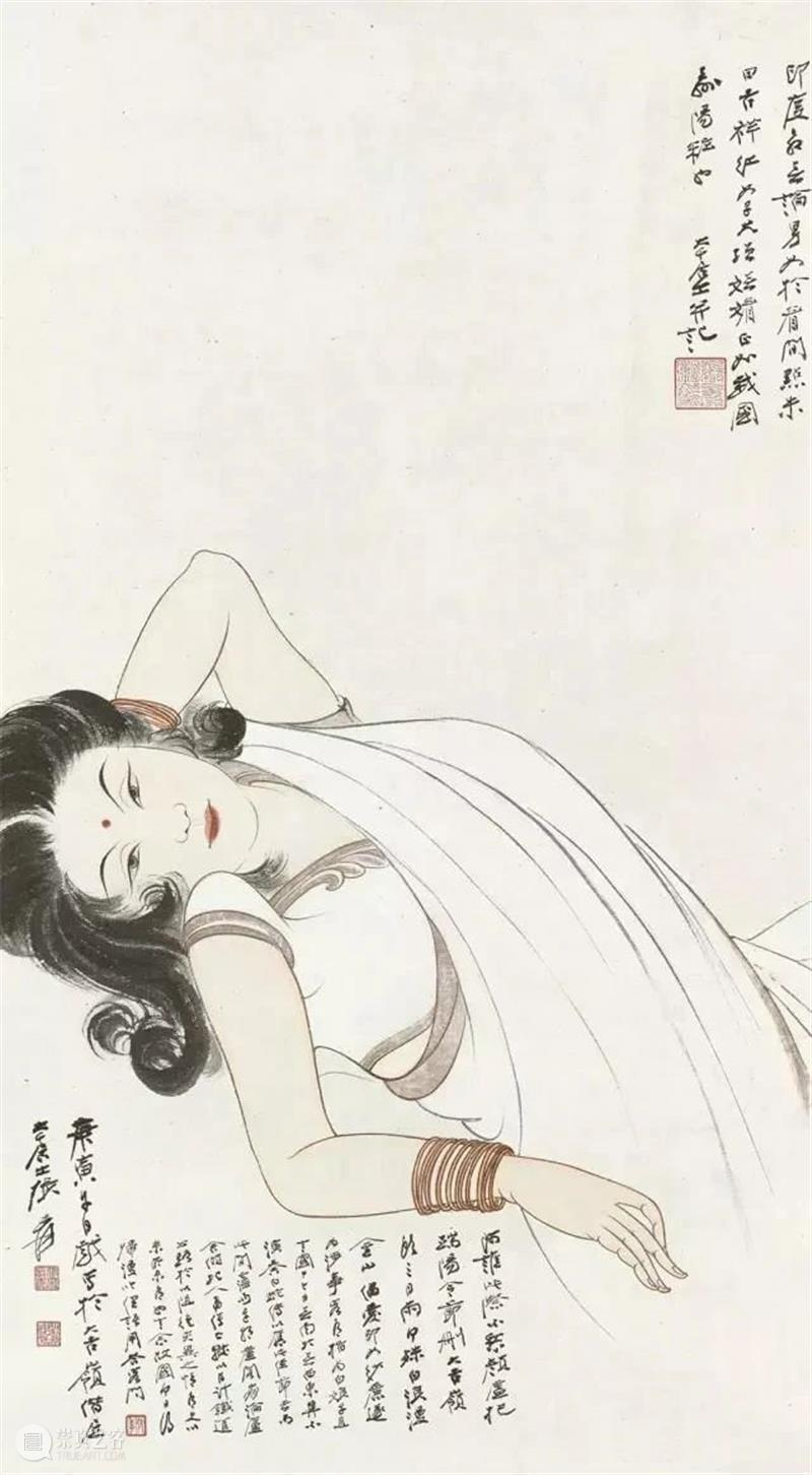 绘画   色彩华美、妍丽动人,张大千先生的人物画 张大千 色彩 妍丽 绘画 先生 人物画 上方 中国舞台美术学会 右上 星标 崇真艺客