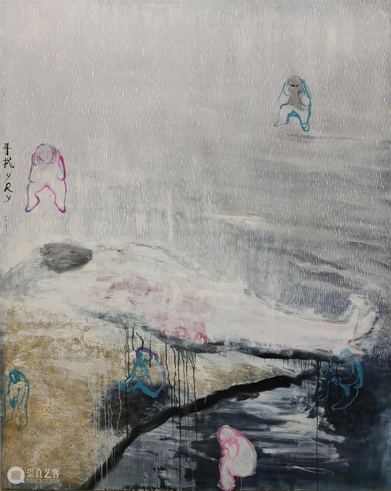 许敏:银手镯微微发光 许敏 手镯 节奏 绘画 流水 时间 女工 炭笔 铅笔 画布 崇真艺客