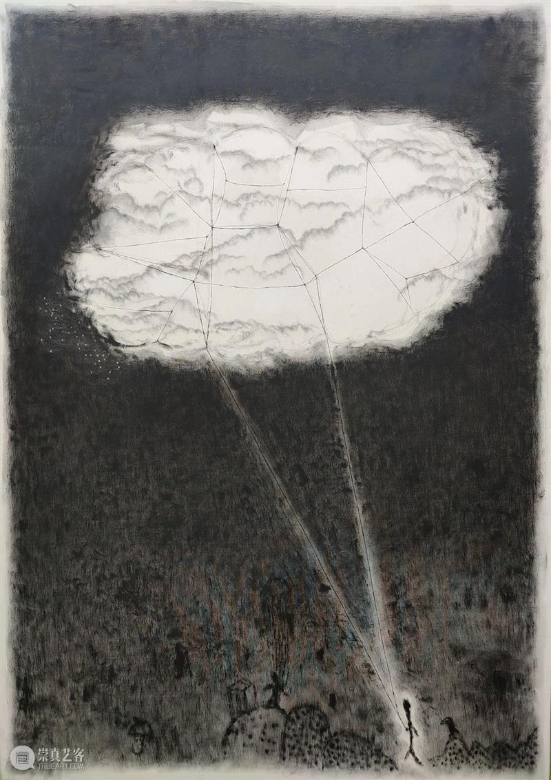 XU MIN:SILVER BRACELET SLIGHTLY GLOWING MIN plants animals rain clouds Phoenix years 旗杆 布面 油画 崇真艺客