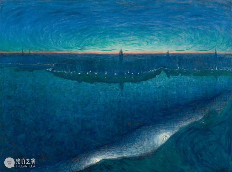 夜的旋律 旋律 瑞典 画家 Eugène Jansson 夜间 土地 蓝色 城市 景观 崇真艺客